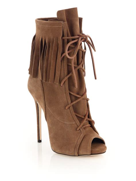 giuseppe zanotti fringed suede lace up peep toe booties in