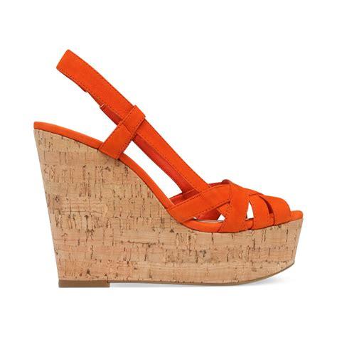 orange cork wedge sandals westt cork platform wedge sandals in
