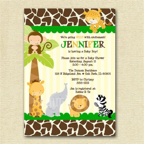 7 Best Images Of Baby Jungle Stationary Free Printable Free Printable Baby Jungle Animal Jungle Baby Shower Invitations Free Template