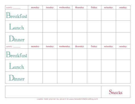 bi weekly meal planner template bi weekly menu planner template calendar template 2016