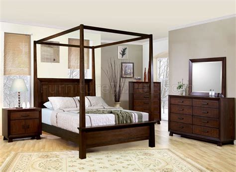 wood canopy bed deep brown classy bedroom with solid wood canopy bed