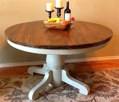 stained table top painted legs vintage pedestal table base painted pale gray
