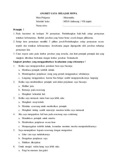 format makalah wawancara angket gaya belajar zoko