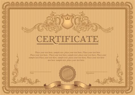 certificate design cdr format free download classical styles certificate template vectors 06 free download