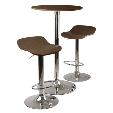 Table Stools Set by 3pc Pub Table And Stools Set In Cappuccino 93344