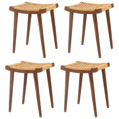 stools and ottomans four teak and woven rope stools or ottomans teak