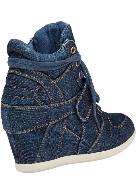 Sneaker Wedges Ash Denim lyst ash bowie wedge sneaker denim in blue