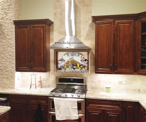 our mural with stone subway tile dark cherry cabinets