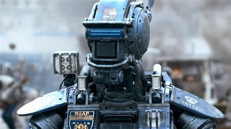 film robot goggle v chappie trailer hugh jackman sigourney weaver die