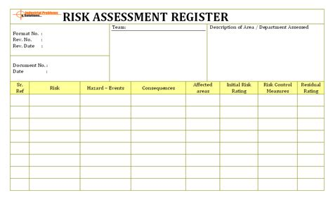 risk assessment register template risk identification in workplace and assessment