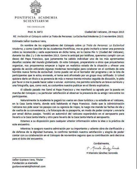 carta formal de la inseguridad el papa recibe a gustavo vera en noviembre por un coloquio sobre trata la alameda