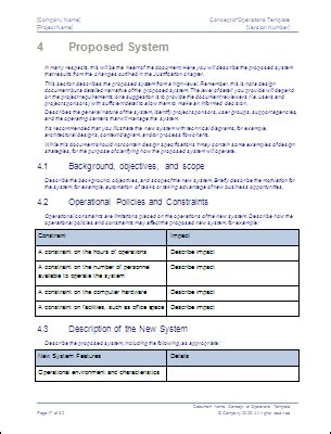 concept of operations template concept of operations template ms word sle