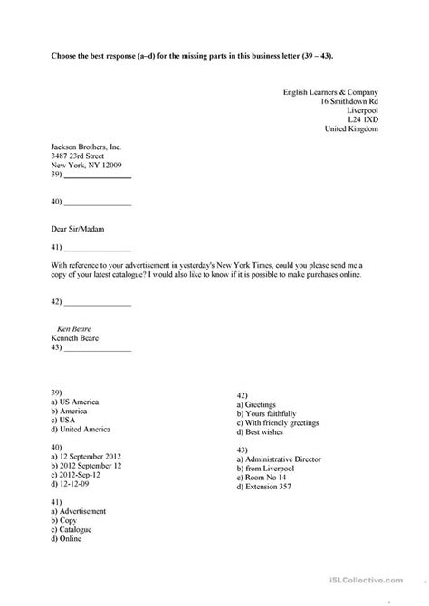 Business Letter Template Worksheet Business Letter Worksheet Davezan