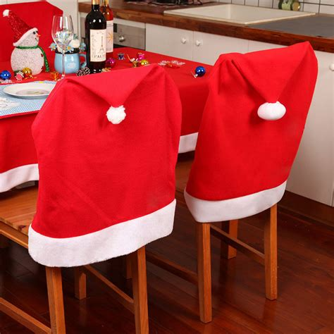 1pcs santa clause red hat chair back cover christmas