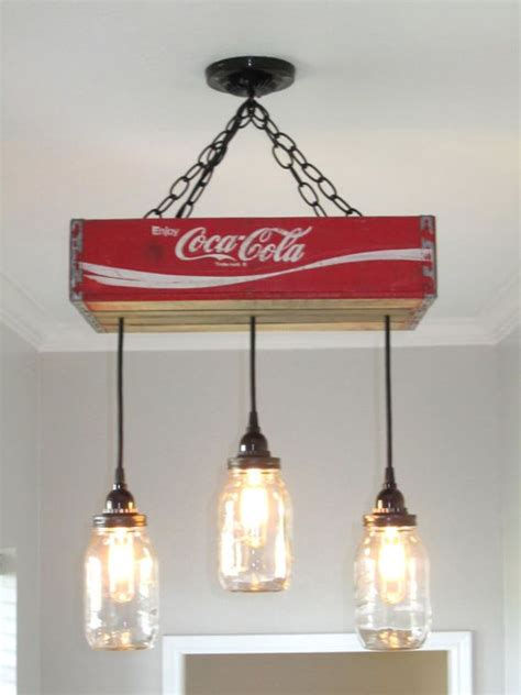 coca cola light fixtures coca cola chandelier ceiling light with jars