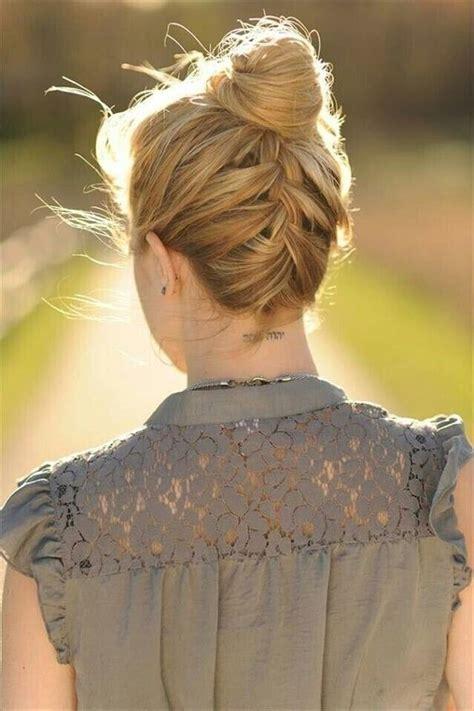how to do an upside down french braid bun easy braided bun up do hairstyles