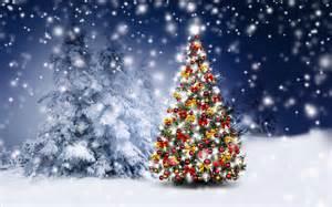 fondo de pantalla arbol de navidad nieve bolas luces hd