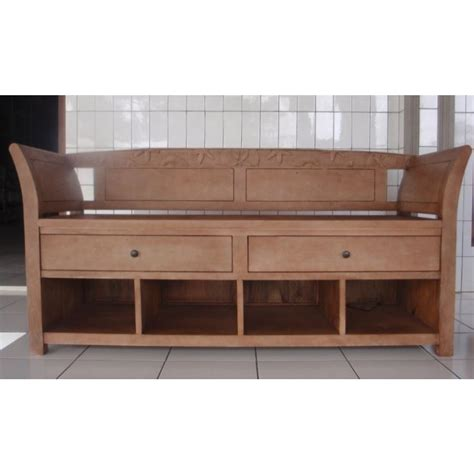60 Inch Storage Bench Driftwood Finished Entryway Bench At Elementfinefurniture