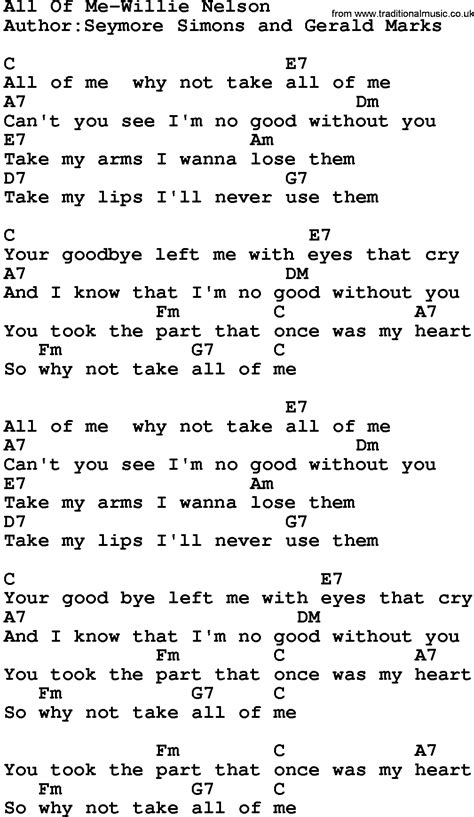 lyrics and piano chords country all of me willie nelson lyrics and chords