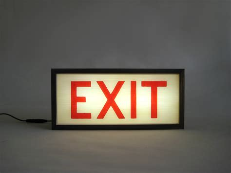 Exit Wooden Light Box Lighted Painted Signs Bingkai