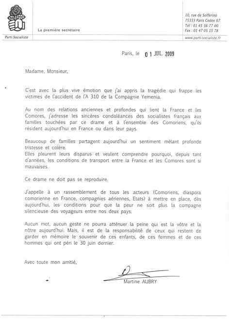 catastrophe a 233 rienne aux comores la lettre de martine aubry aux familles des victimes daniel