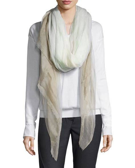 brunello cucinelli woven ombre scarf in blue lyst