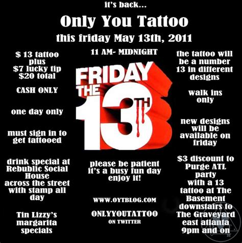 tattoo prices on friday the 13th 20 tattoos this friday 187 only you tattoo