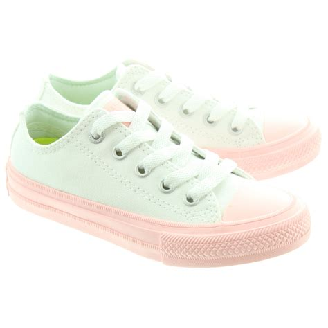 converse all 2 ox lace shoes in white pink in