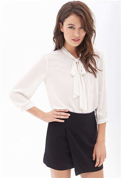 Forever Blouse forever 21 contemporary tie front chiffon blouse in lyst