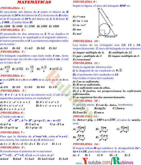 preguntas de matematicas en examen de admision simulacro de matem 193 ticas f 205 sica y qu 205 mica resuelto