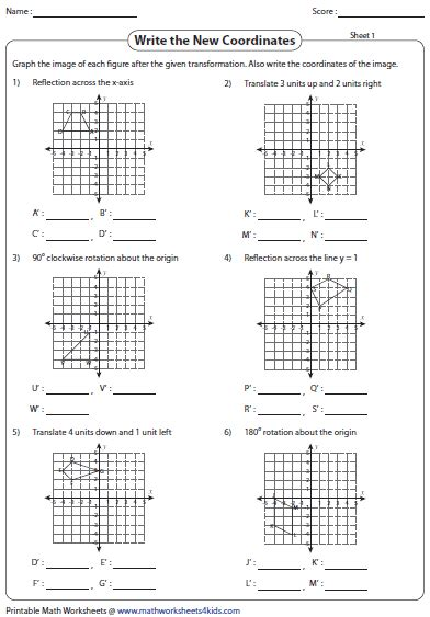 Rotations Worksheet 8th Grade by Transformation Worksheets Reflection Translation Rotation