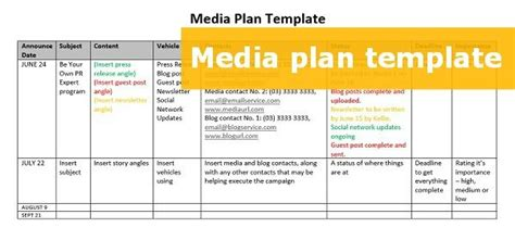 publicity plan template a free downloadable media plan template media how to