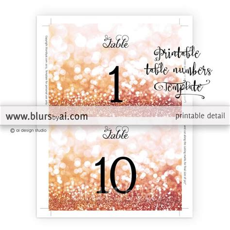 table numbers editable template  rose gold glitter