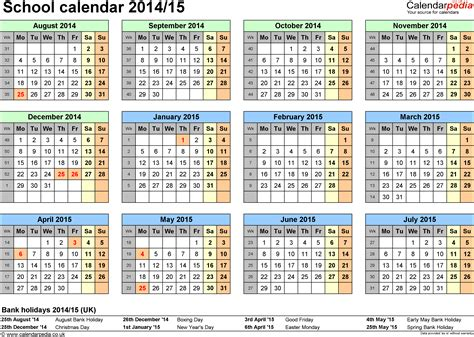 School calendars 2014/2015 as free printable Word templates