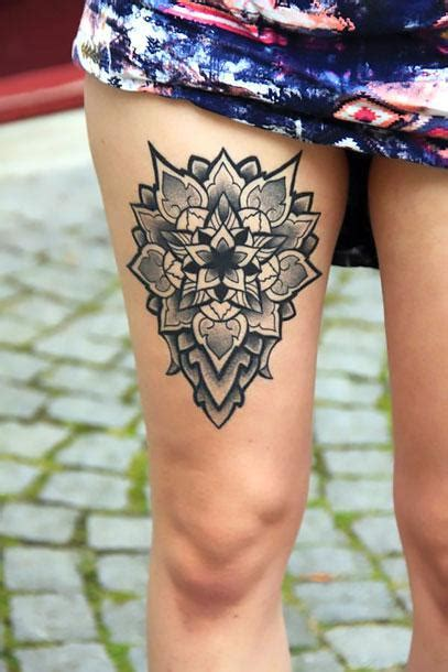 upper thigh tattoos female thigh mandala idea