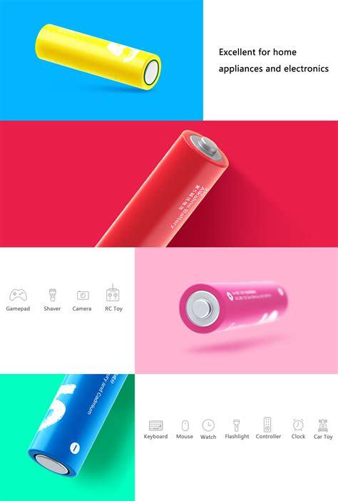 Original Xiaomi Zi5 Rechargable Alkaline Aa Battery 6jm2 original xiaomi rainbow zi5 1 5v aa alkaline battery set