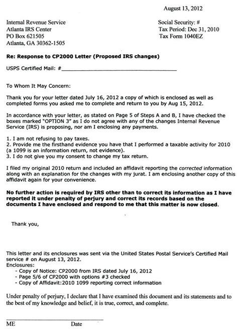 Cp2000 Response Letter Sle Lgbtlighthousehayward Org Irs Response Letter Template