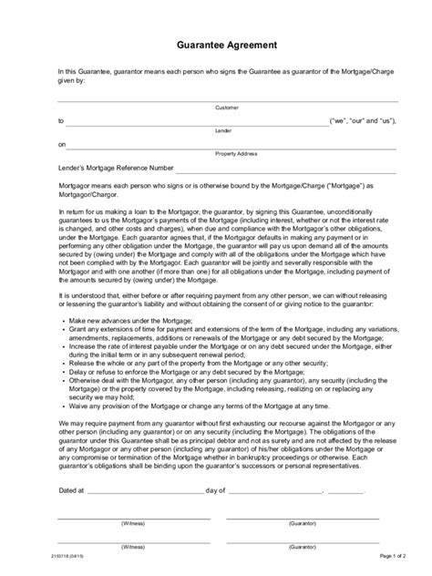 guarantor agreement form 16 free templates in pdf word