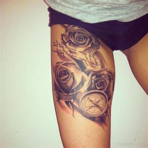 leg tattoos of roses thigh tattoos designs pictures
