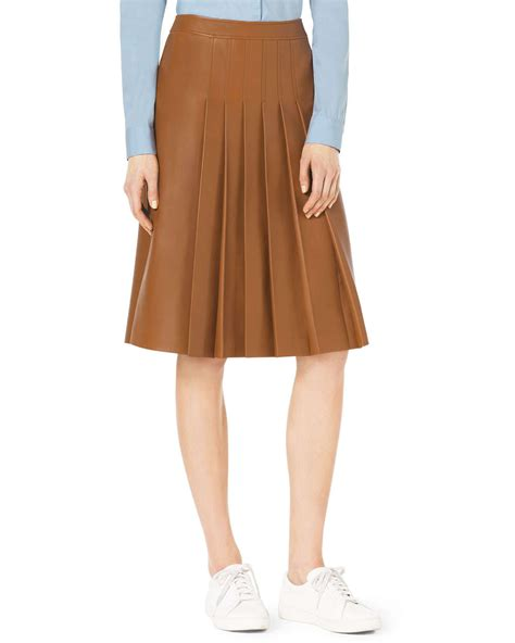 michael kors knee length pleated leather skirt in brown lyst