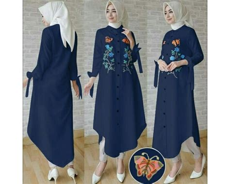 Ca Dress Merah Bordir Tunik Navy Bordir Baju Korea Buterfly Tunik Bordir Navy