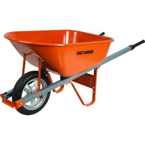true temper 6 cu ft wheelbarrow with steel handles and