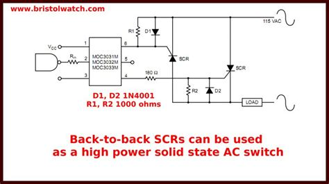 back to back capacitor switching basic triac scr projects circuits tutorial