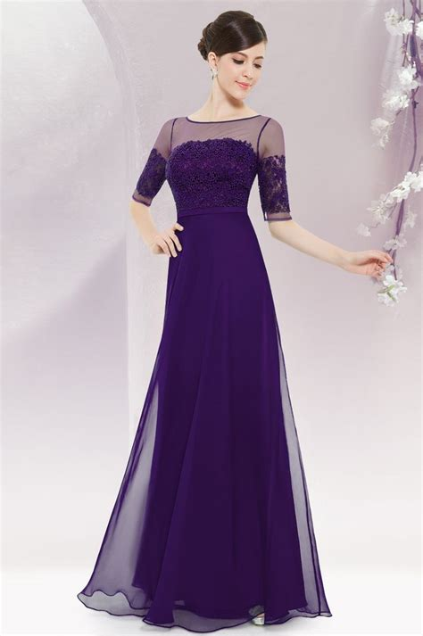 Dress Maxi Purple Elegan purple half sleeves maxi dress dress everpretty maxi purple pretty dresses
