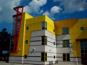 color building primary yellow and white exterior building part of