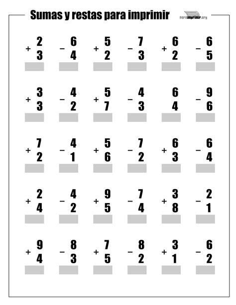 fichas sumas y restas para imprimir imagui sumas y restas para ni 241 os para imprimir imagui
