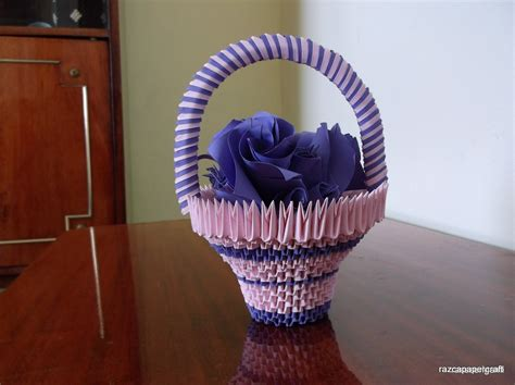 Origami Basket Tutorial - 3d origami basket with flowers tutorial diy paper craft