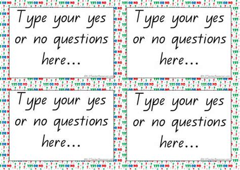 question card template editable yes or no questions cards template k 3