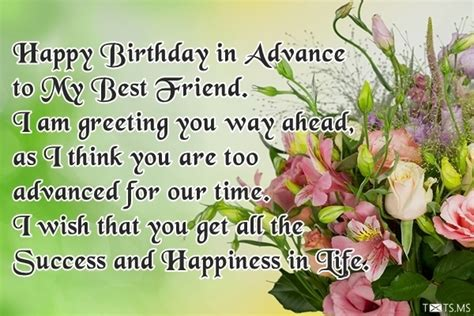 Happy Birthday Wishes In Advance Sms Advance Happy Birthday Wishes Messages Quotes Images
