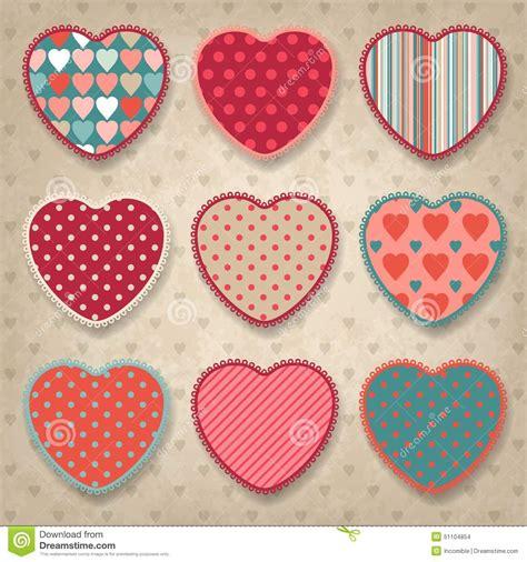 establecer etiquetas vintage con los corazones vector de fondo retro del dise 241 o del vintage con los corazones